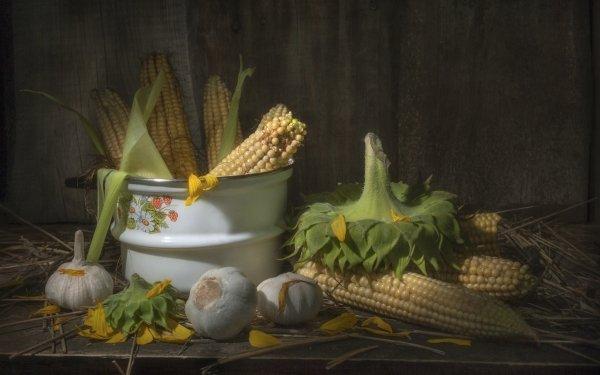 Food Still Life Corn Garlic HD Wallpaper | Background Image
