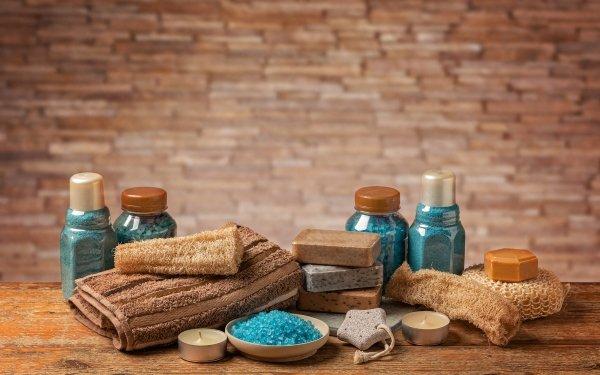 Man Made Spa Towel Soap Bath Salt HD Wallpaper | Background Image
