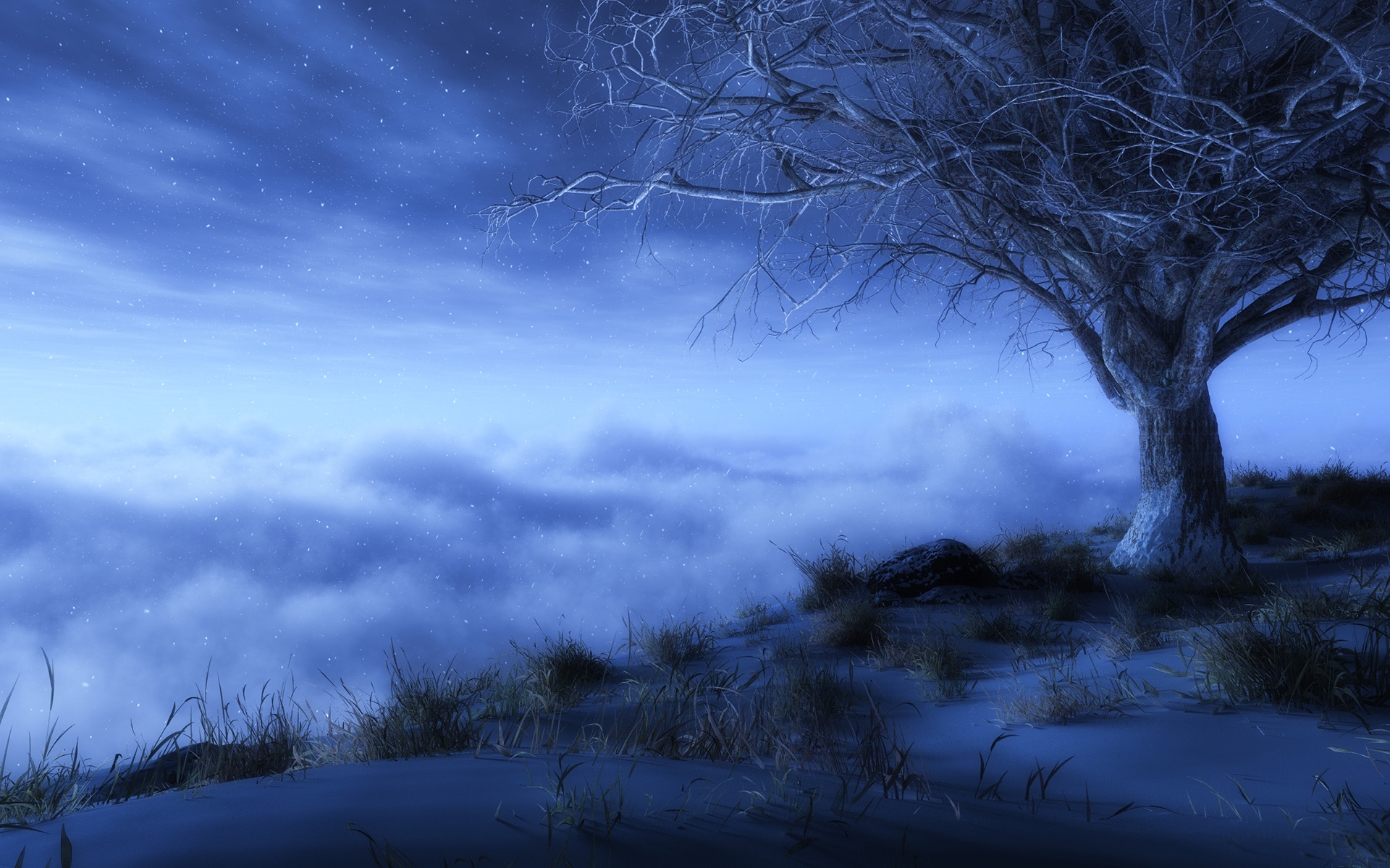 Fantasy - Künstlerisch  Fog Stars Lonely Tree Tree Cloud Sky Wallpaper