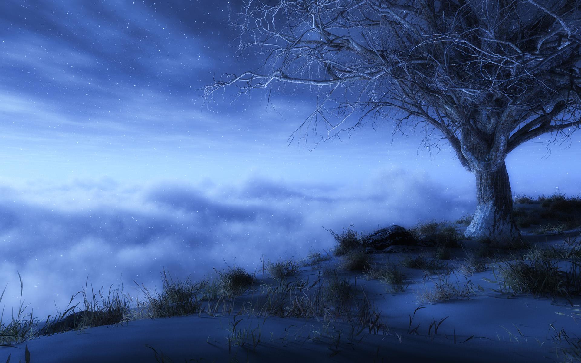 Fantaisie - Artistique  Brouillard Etoiles Lonely Tree Arbre Nuage Ciel Fond d'écran
