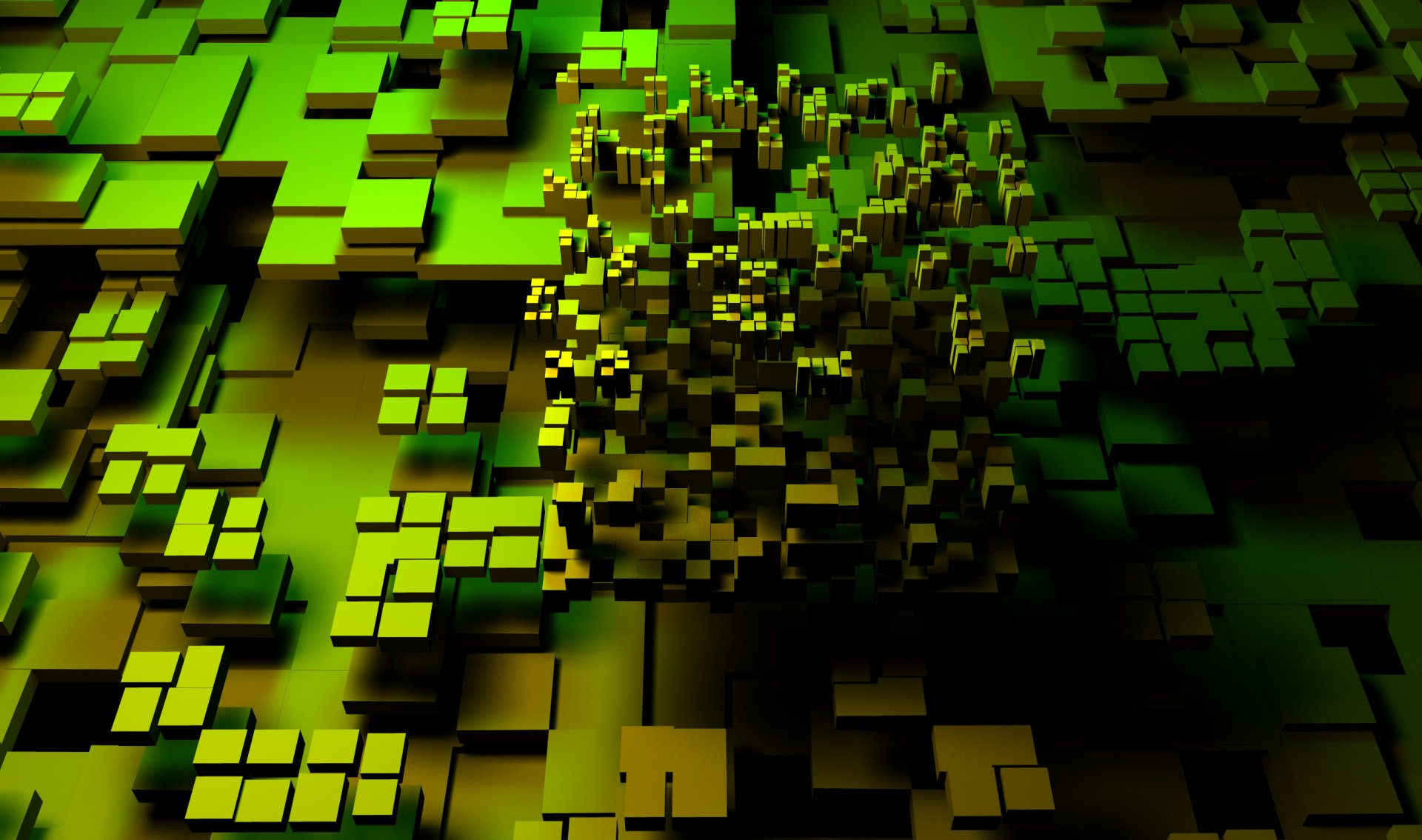 CGI - 3D  Cube Green Dark Abstract Digital Art Wallpaper