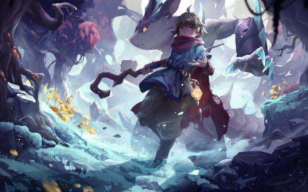 Fantasy Sorcerer Creature Staff HD Wallpaper | Background Image