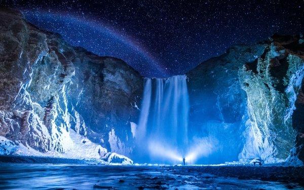 Earth Skógafoss Waterfalls Night HD Wallpaper | Background Image