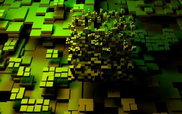 Artistic 3D Art Cube Green 3D Abstract HD Wallpaper | Background Image