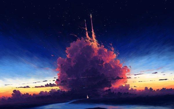 Artistic Sky Cloud Rocket HD Wallpaper | Background Image