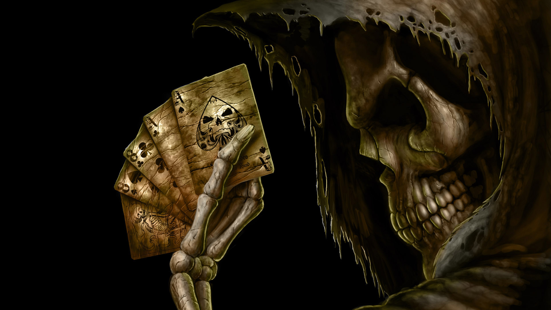 Dark - Grim Reaper  - Ace - M - Mayur - Skull - Death - Night - Dark - Card - Skul - Dead Man\'s Hand - Aces And Eights Wallpaper