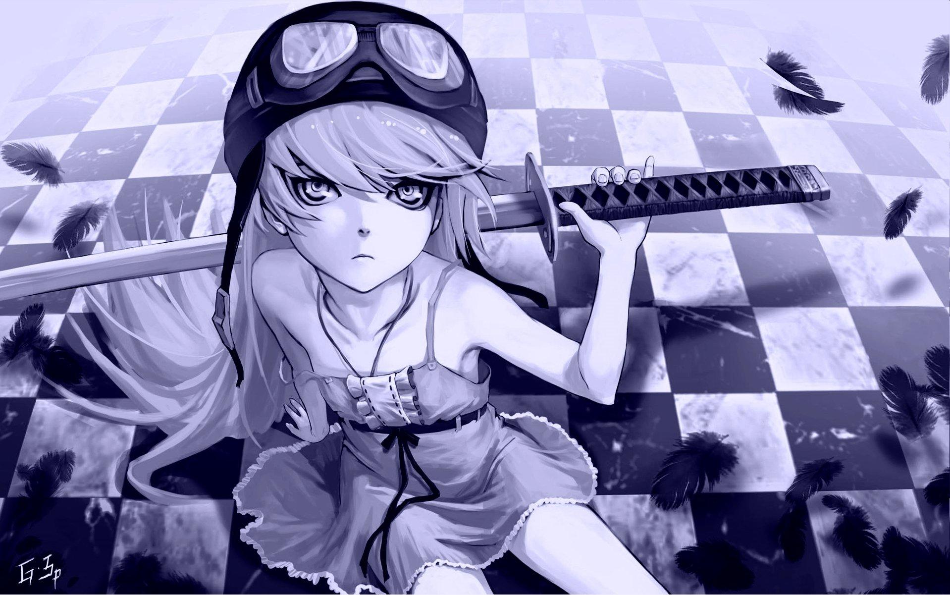 Anime - Monogatari (Series)  Shinobu Oshino Katana Wallpaper