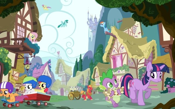 TV Show My Little Pony: Friendship is Magic My Little Pony Twilight Sparkle Spike Scootaloo Apple Bloom Sweetie Belle Rainbow Dash Fluttershy Big Macintosh HD Wallpaper | Background Image