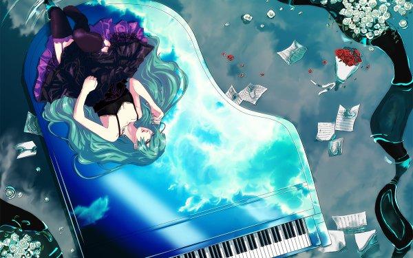 Anime Vocaloid Hatsune Miku Piano HD Wallpaper | Background Image