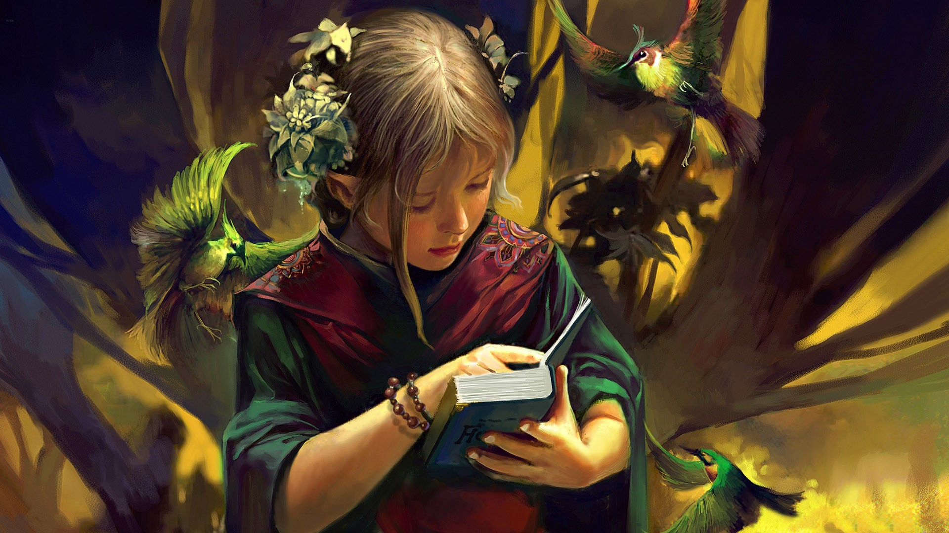 Фэнтези - Эльф  - Elven - ребенок - Книга - Птица Обои