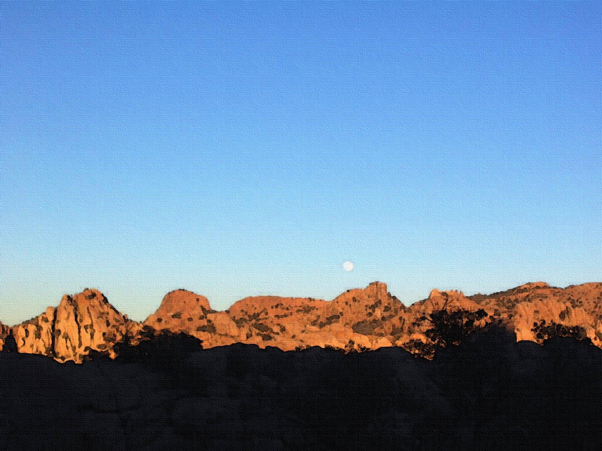Artistic - Nature  Peace Moon Sunset Desert Wallpaper