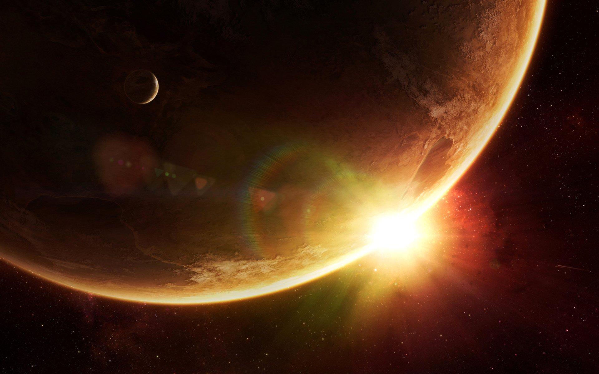 Ciencia ficción - Amanecer  Planeta Espacio Fondo de Pantalla