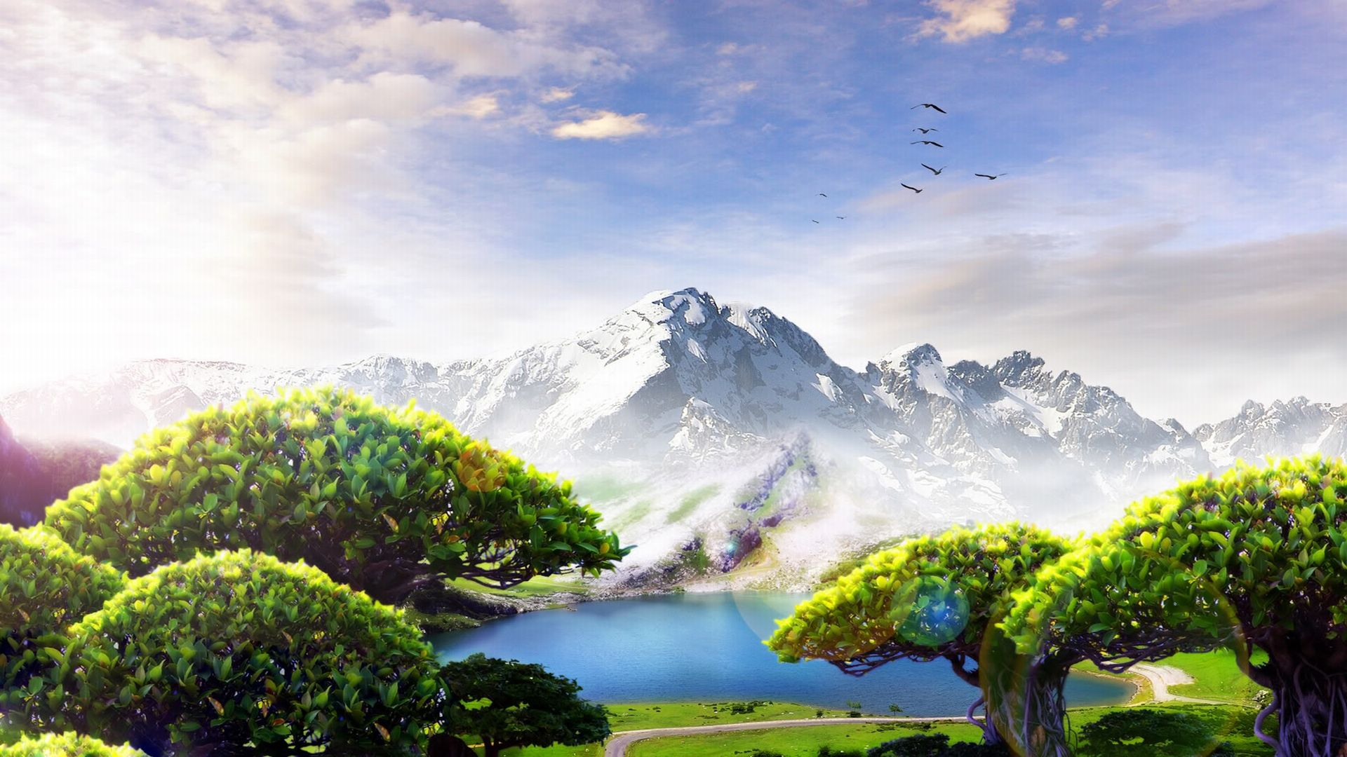 Artistique - Paysage  Nature Artistic Lake Fond d'écran