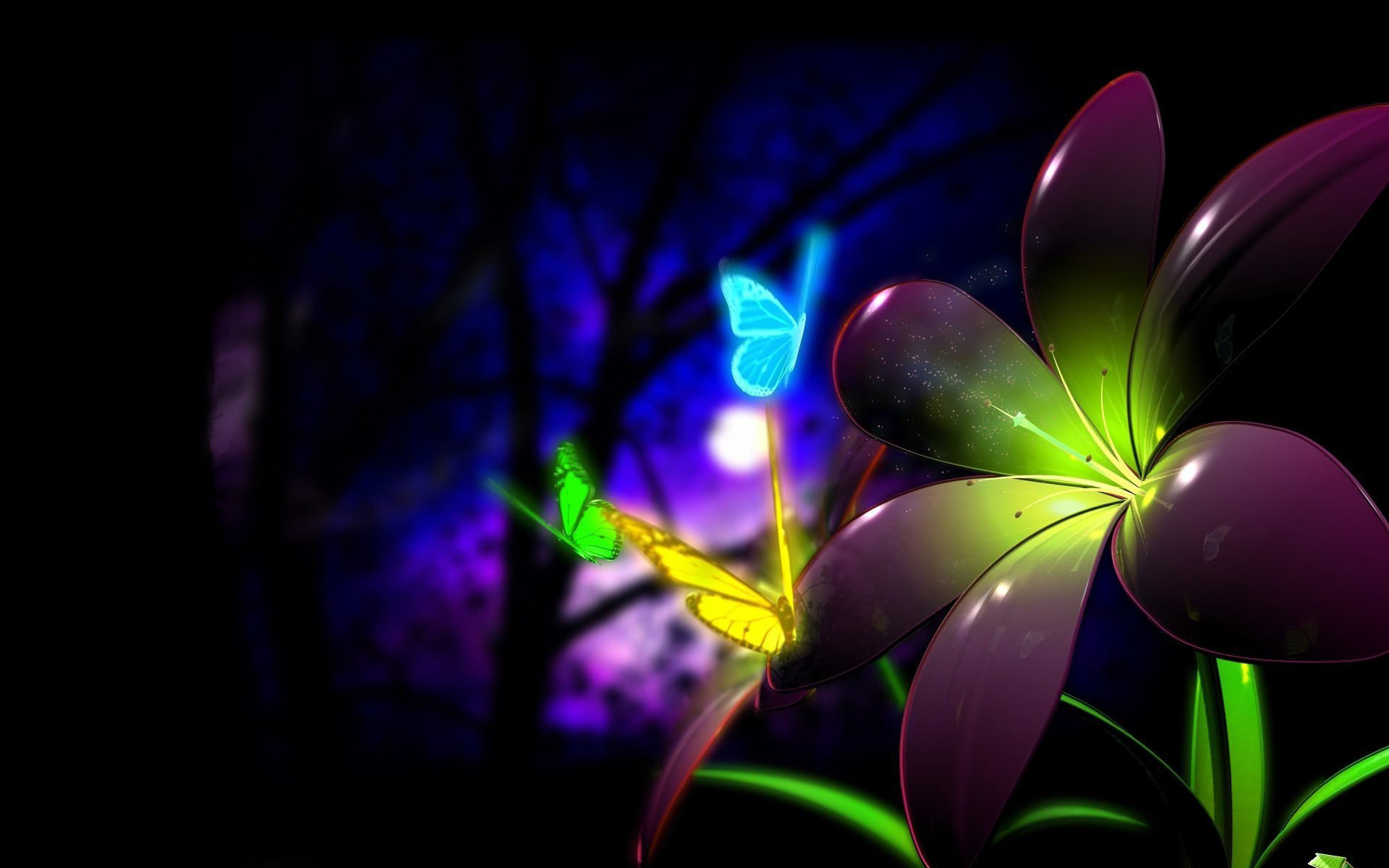 Chidas Para Fondo De Escritorio 3d: Neon Butterflies Full HD Wallpaper And Background Image