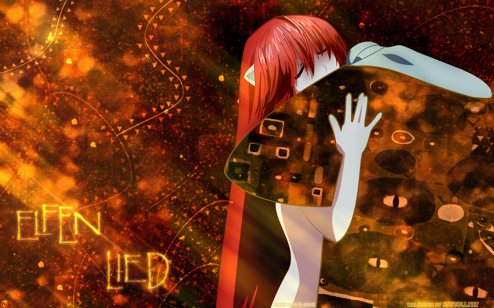Anime - Elfen Lied  - Eflen Lied - Lucy - Nyuu - Orange - Red Wallpaper