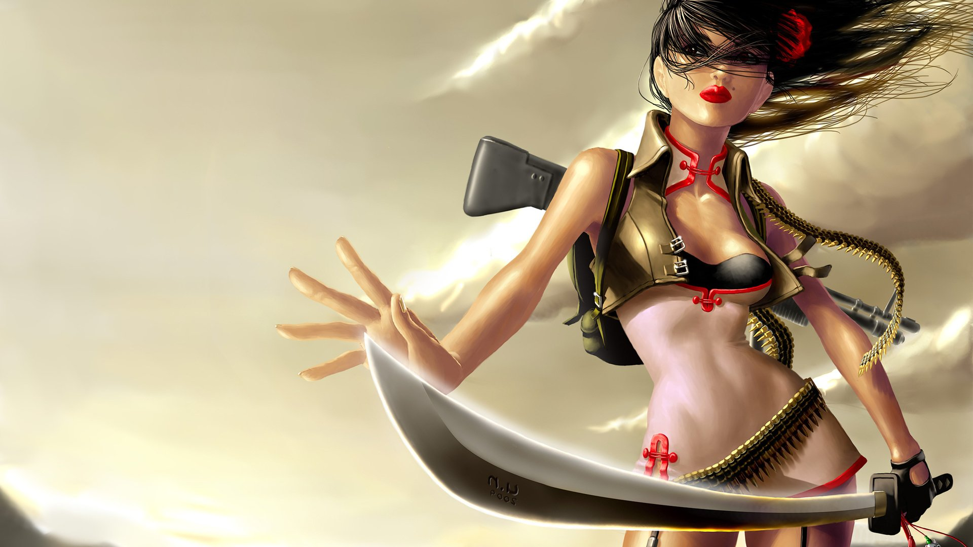 Fantasy - Women Warrior  Lipstick Red CGI Weapon Sword Gun Ammo Belt Bullet Wallpaper