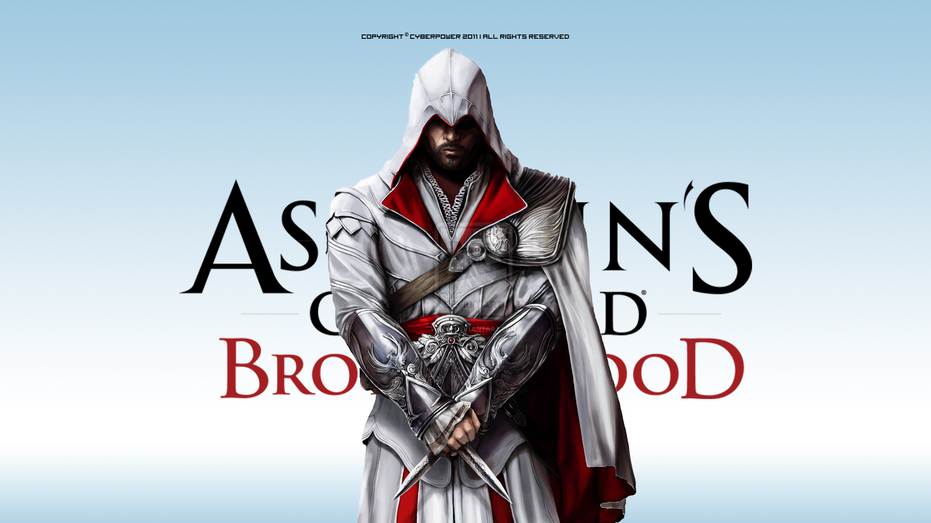 Video Game - Assassin's Creed: Brotherhood   - Ezio - Auditore - Assassins - Brotherhood - Cyberpower - Epic - Blue - Hd - 1080p - Cool - Awesome - Wallpaper Wallpaper