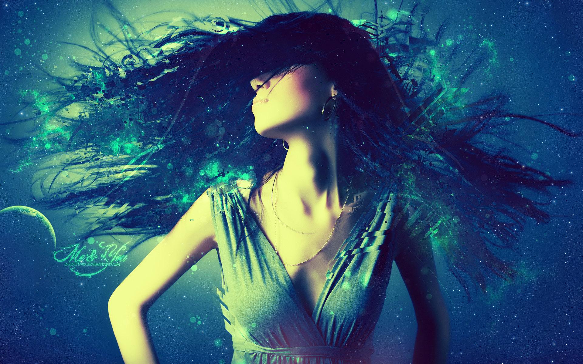 Artistic - Women  Abstract Dance Trance Girl Blue Music Wallpaper