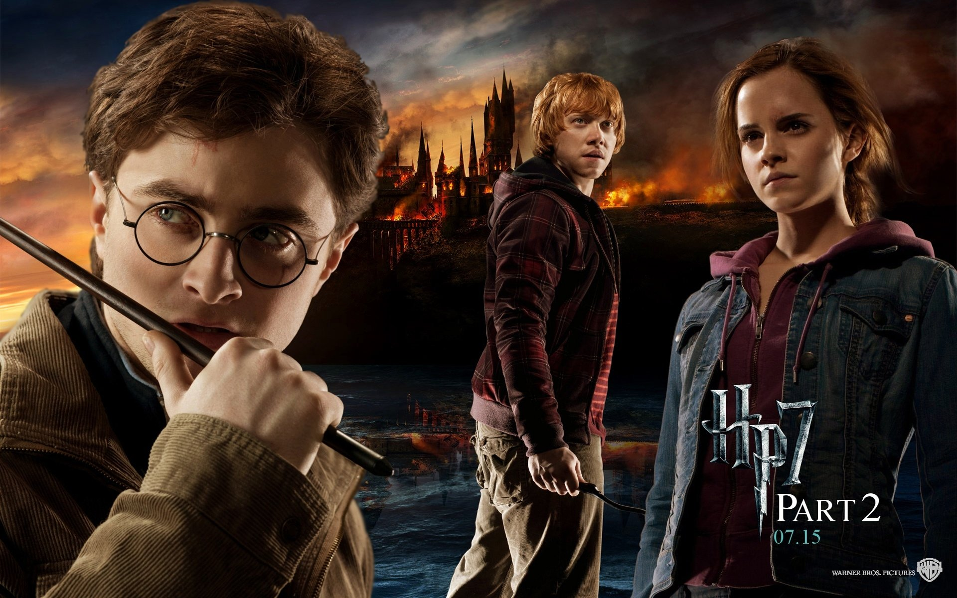 Movie - Harry Potter And The Deathly Hallows: Part 2  Harry Potter Hermione Granger Ron Weasley Harry Potter And The Deathly Hallows Wallpaper