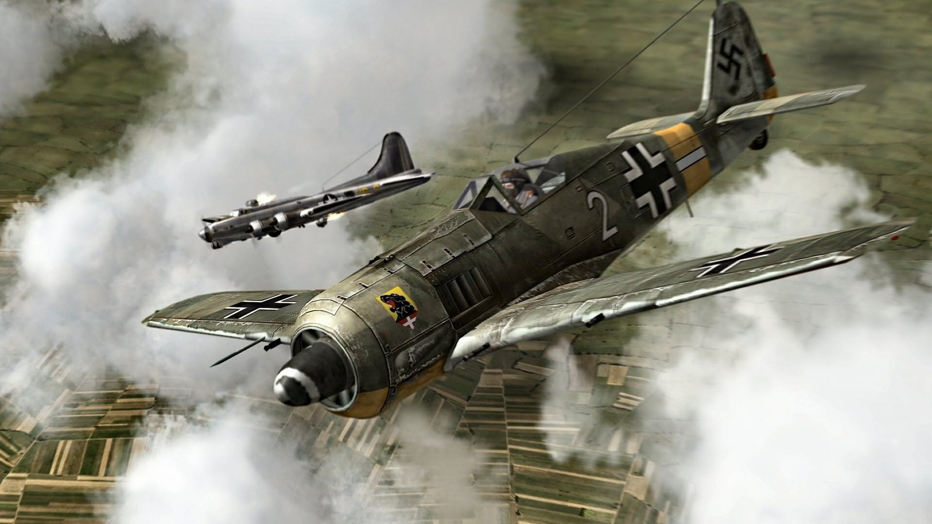 190 Vertical Wallpaper Hd: FW 190 Takes On A B-17 HD Wallpaper