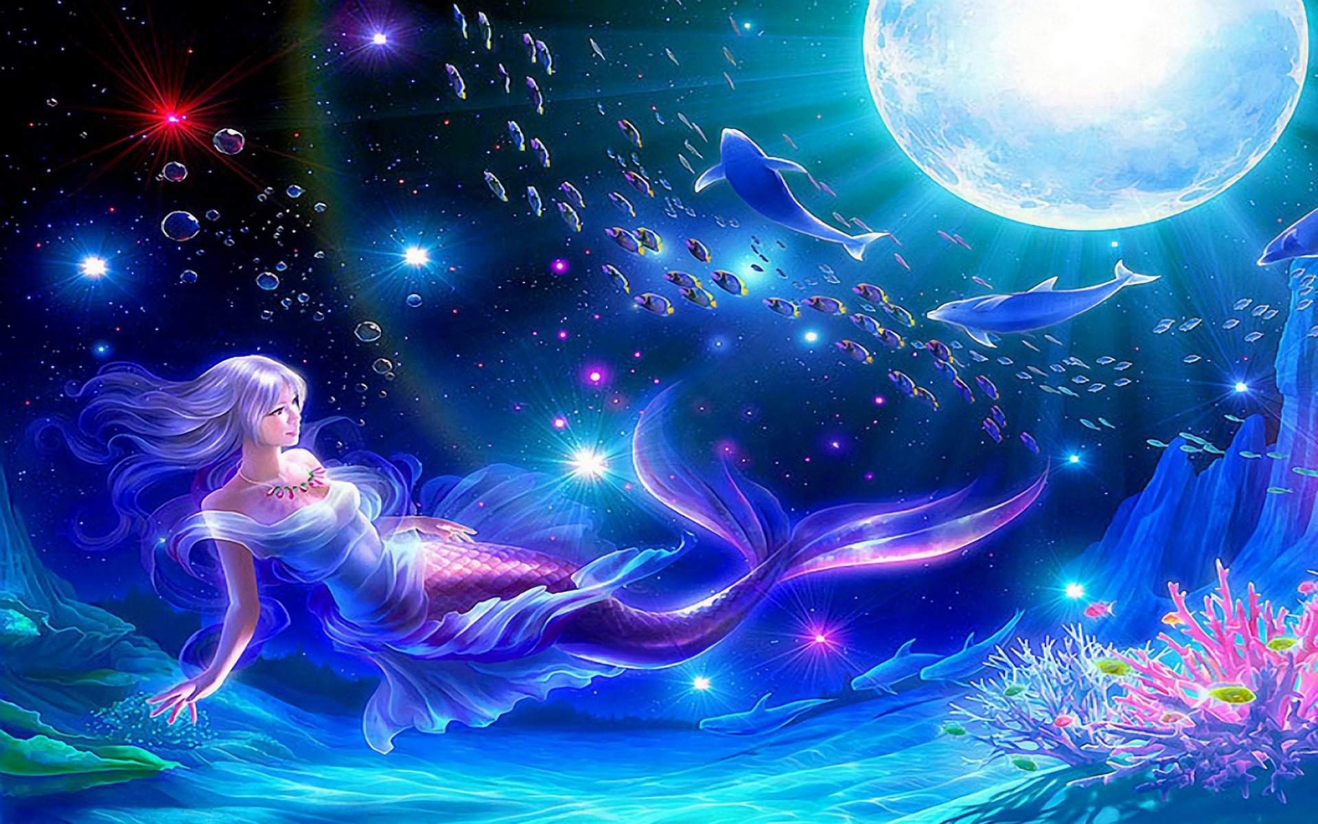 Fantasy - Mermaid  Kagaya Fantasy Underwater Fish Moon Colorful Wallpaper