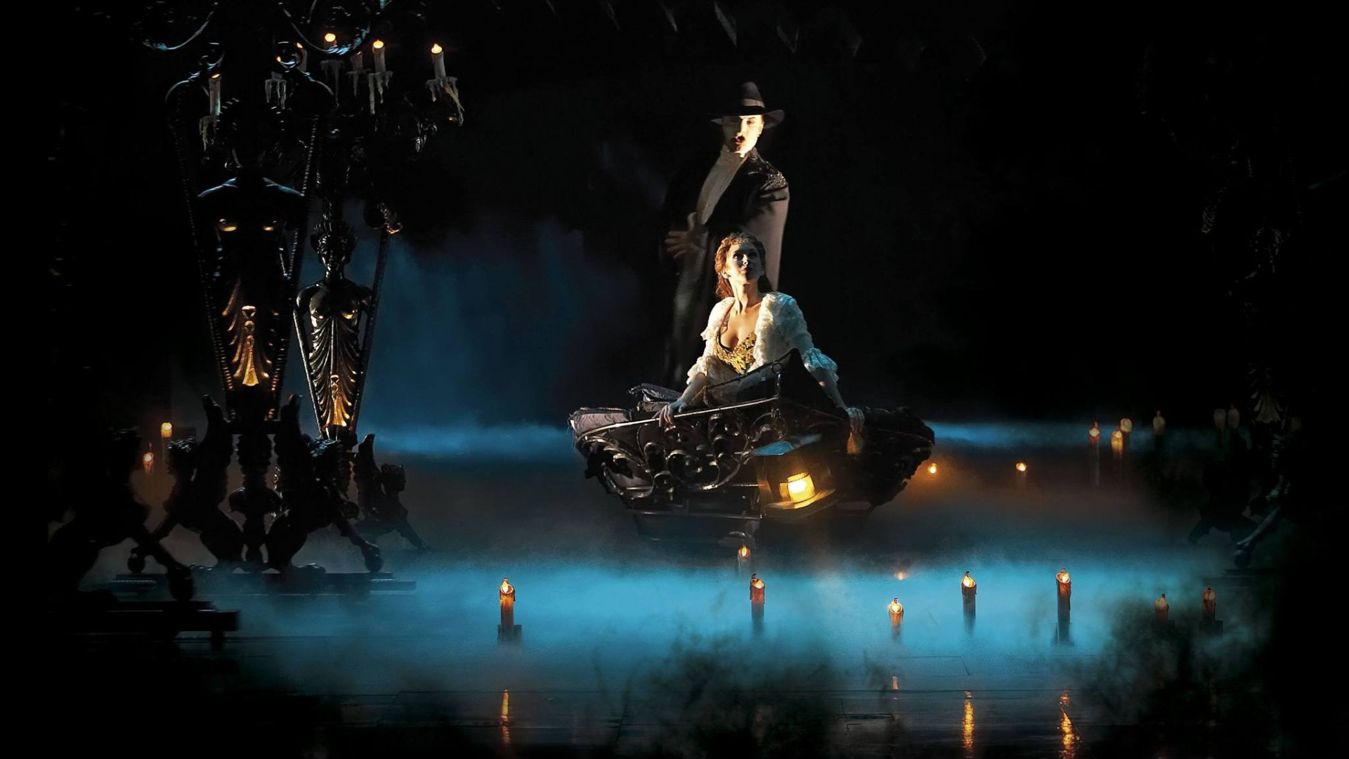 Music - The Phantom Of The Opera Dark Vampire Water Candle Opera Wallpaper