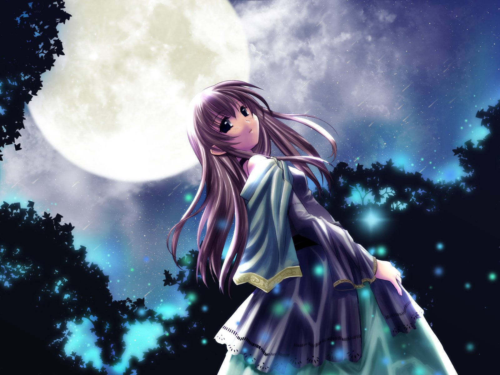 Anime - Club Maniax  Night Moon Girl Blue Sky Wallpaper