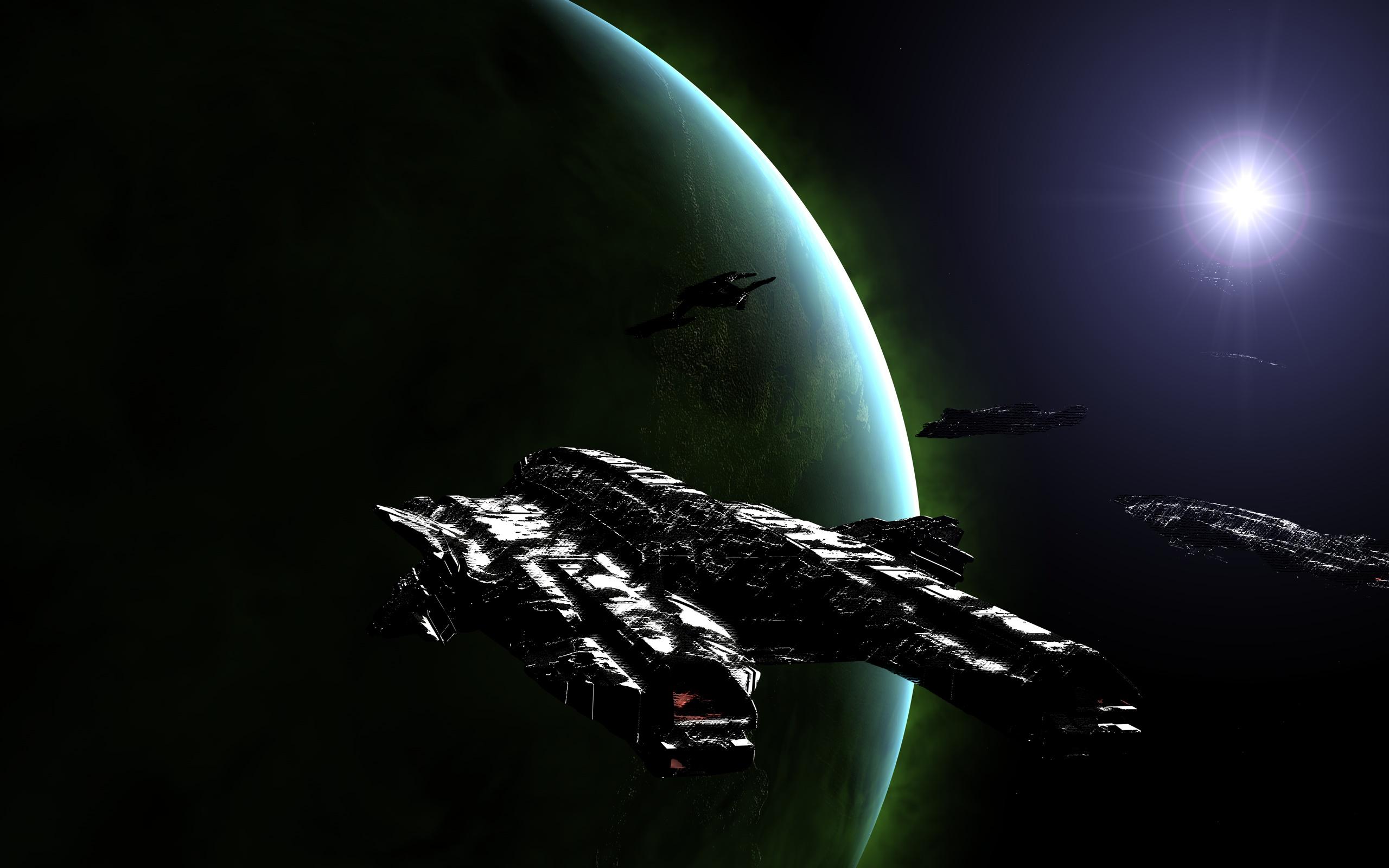 Science-Fiction - Planeten  Planet Invaders Schiff Weltraum Wallpaper