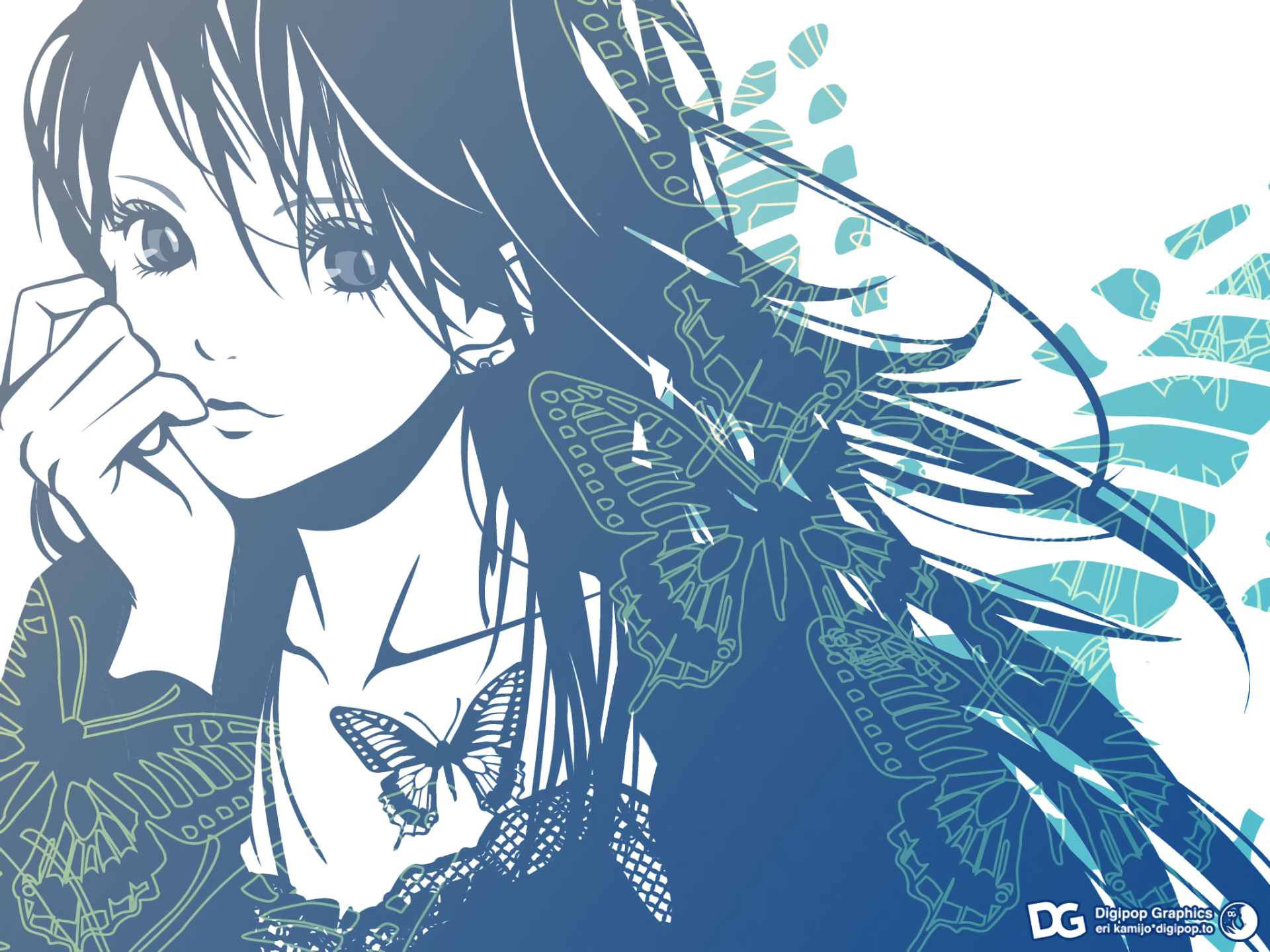 Anime - Unknown  Anime Girl Face Butterfly Wallpaper