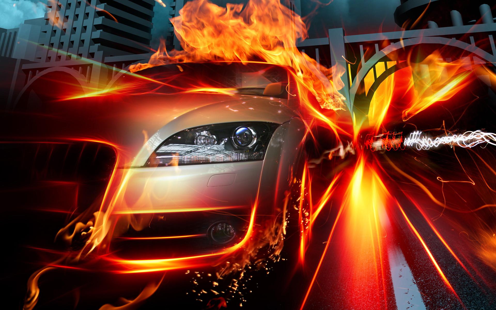 Fotografie - Manipulatie  Voertuig Vlam Ride Urban Fantasie Wallpaper