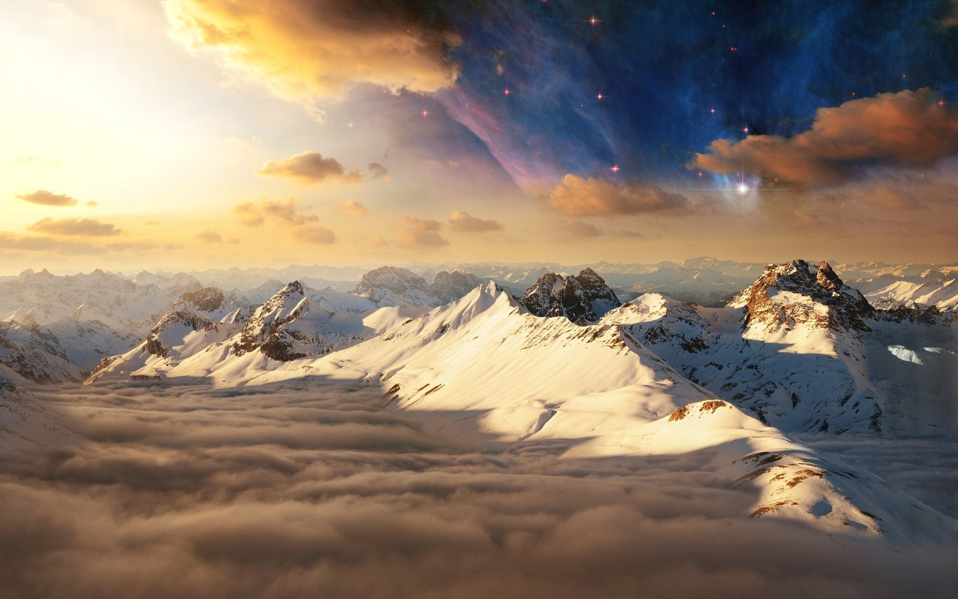 Photography - Manipulation  Stars Cloud Sci Fi Earth Winter Landscape Sky Starry Sky Star Wallpaper