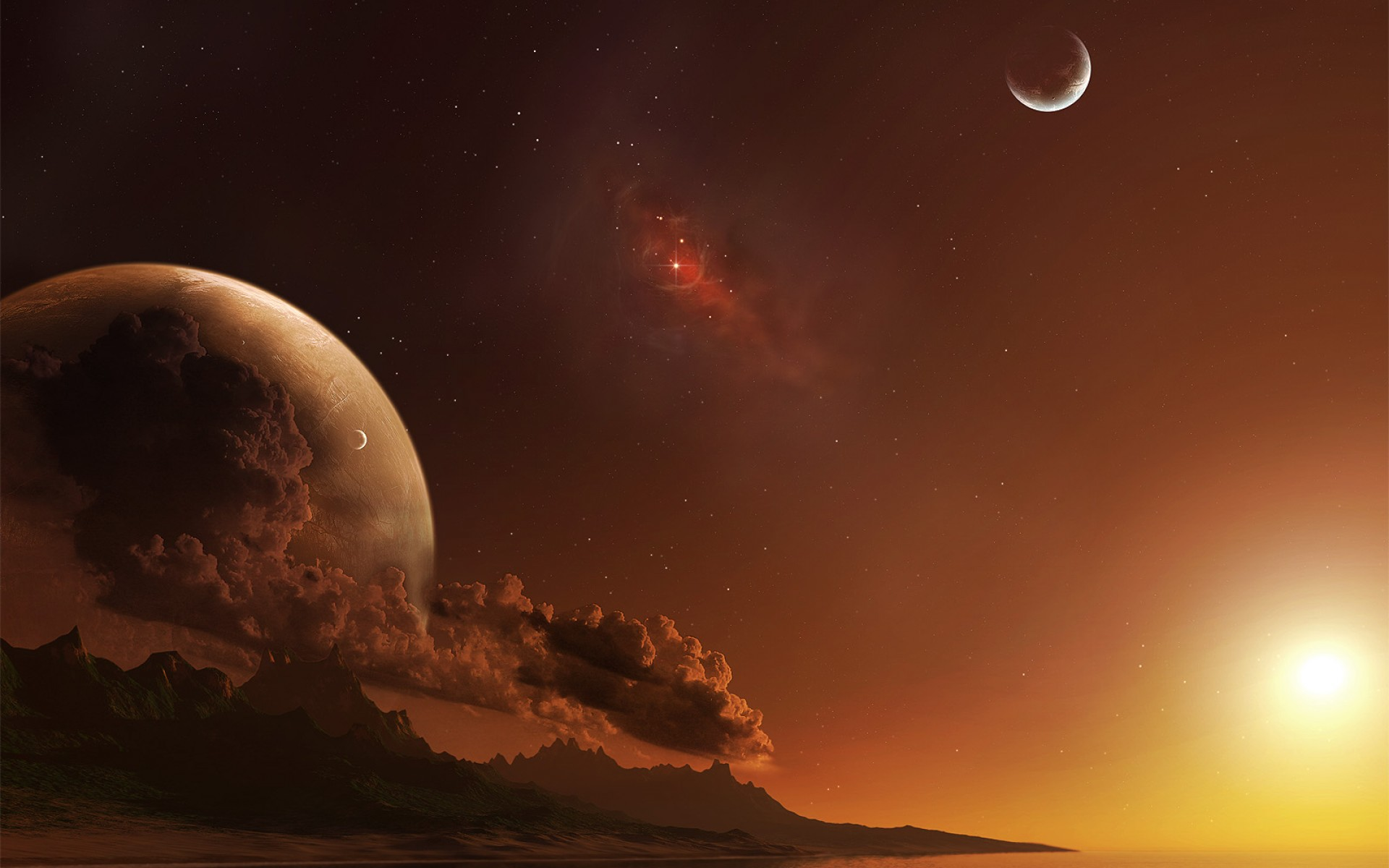 Sci Fi - Planet Rise  Sunrise Planet Wallpaper