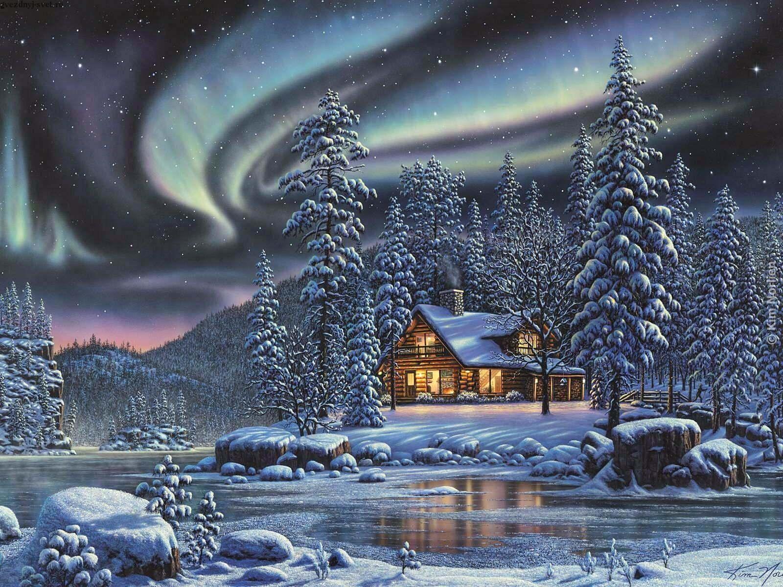 Artistisk - Winter  - Aurora Borealis Winter Bakgrund