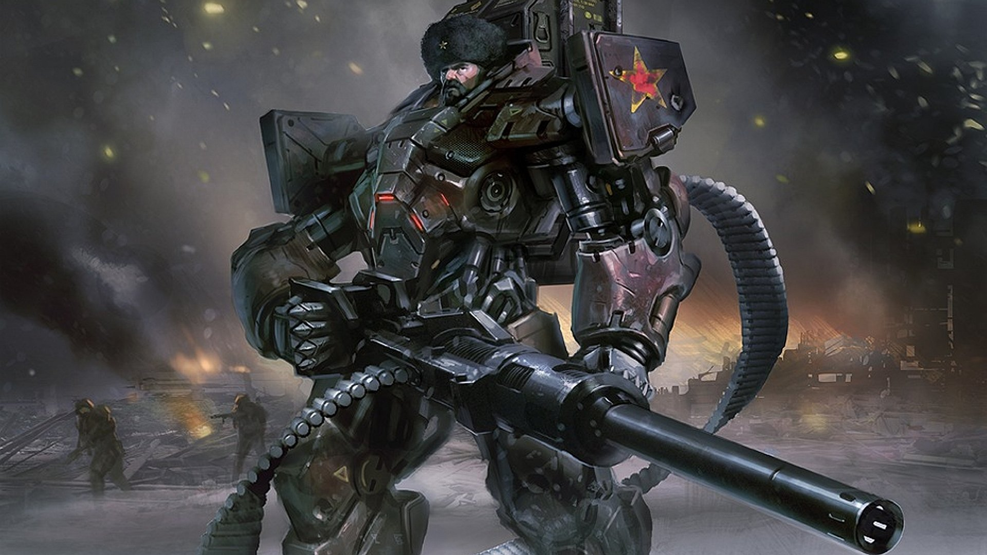 Sci Fi - Warrior  Belt Fed Armor Mecha Russian Wallpaper