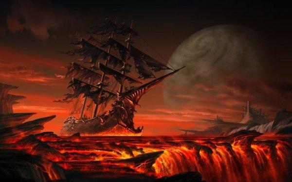 Fantasy Ship Sailing Moon HD Wallpaper | Background Image