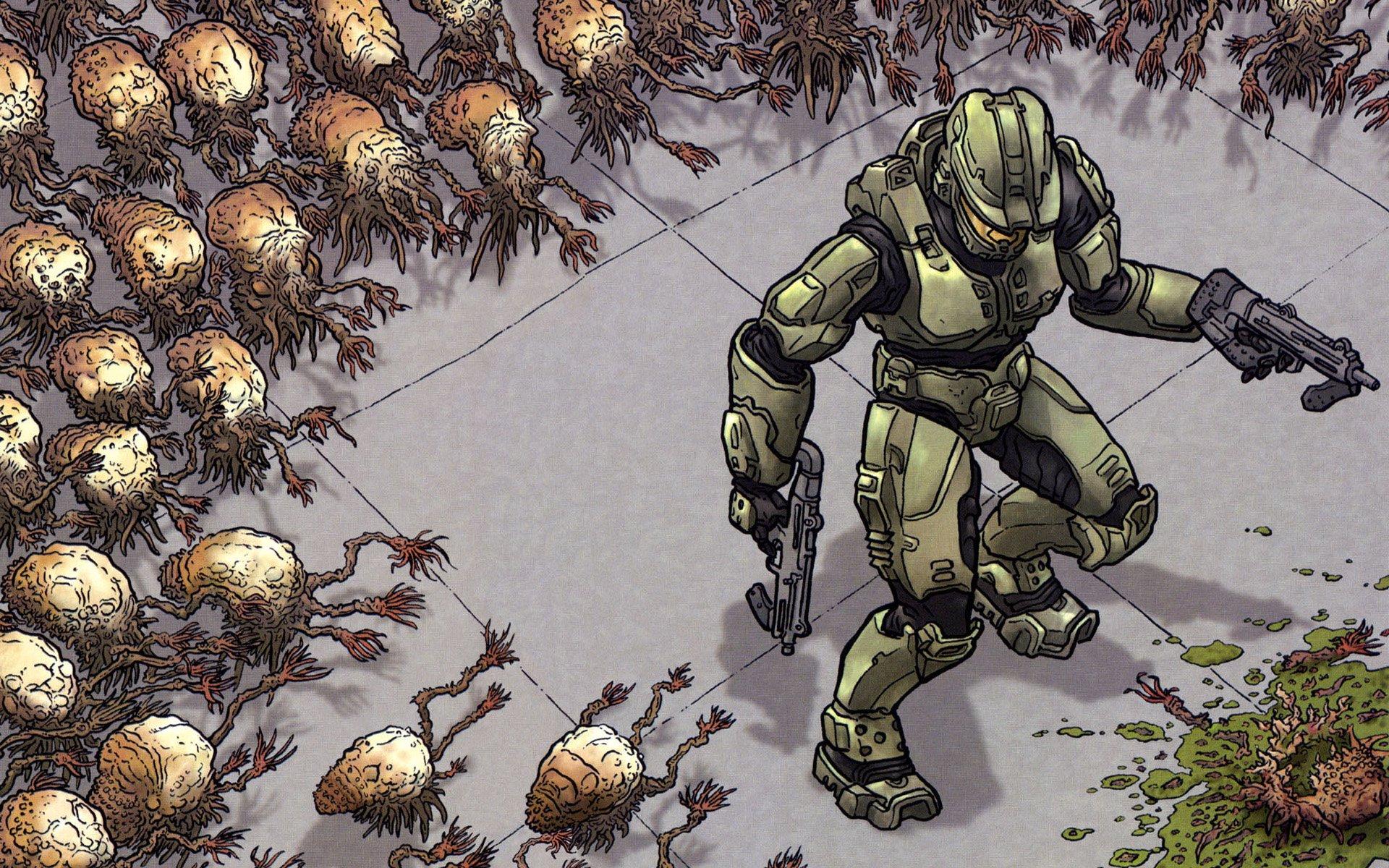 Video Game - Halo  Warrior Alien Gun Master Chief Wallpaper