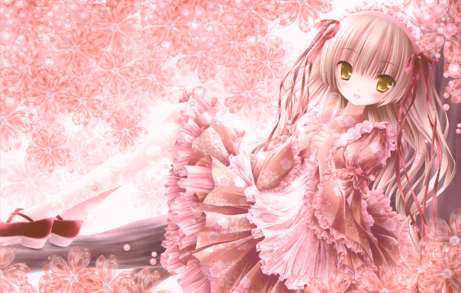 Pretty in pink wallpaper and background image 1500x953 id158565 anime original girl cute ribbon flower blossom wallpaper voltagebd Gallery