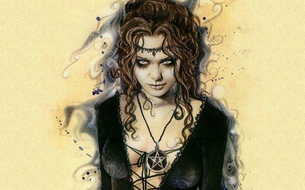 Fantasy Women Gothic Pentagram HD Wallpaper | Background Image