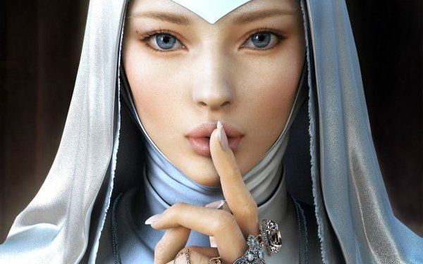 Women Artistic White Ring Blue Eyes Fantasy Nun Face HD Wallpaper   Background Image