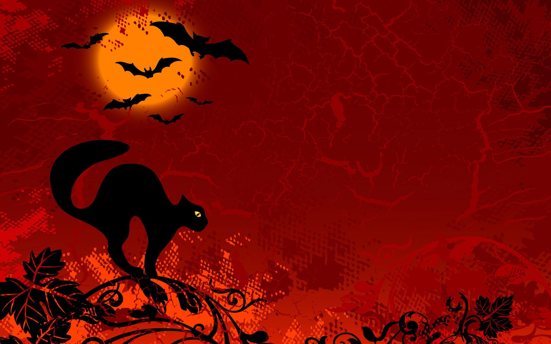 Holiday - Halloween  Cat Bat Sunset Wallpaper