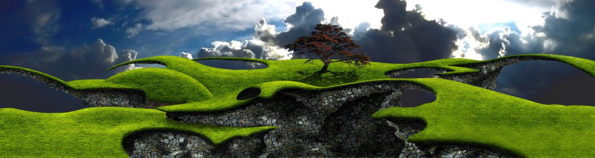 Fantasy - Landschaft  Baum Wallpaper