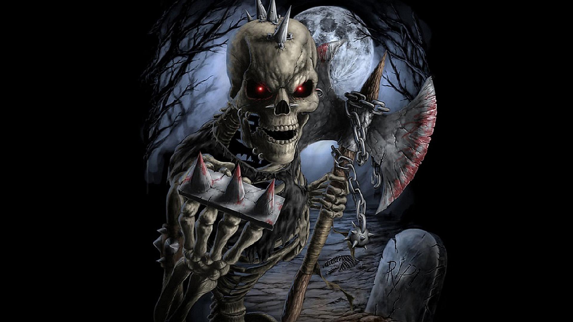 Warrior full hd wallpaper and background image 1920x1080 id168987 dark warrior dark skeleton tombstone axe moon wallpaper voltagebd Gallery
