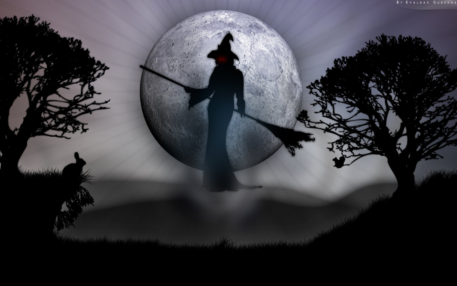 Holiday - Halloween  Witch Red Eyes Moon Spooky Rabbit Wallpaper