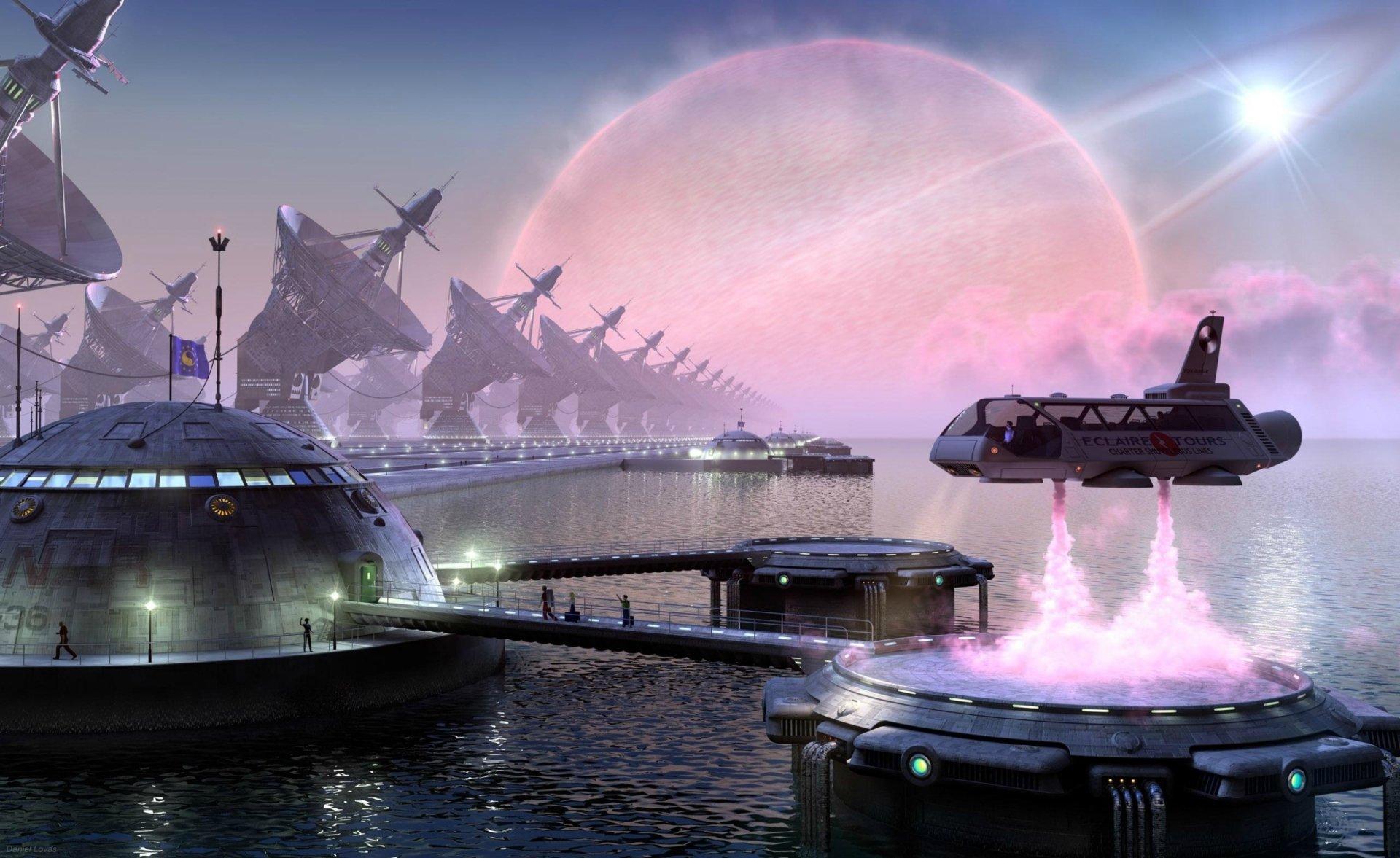 Sci Fi - Spaceport  Daniel Lovas Fantasy Wallpaper