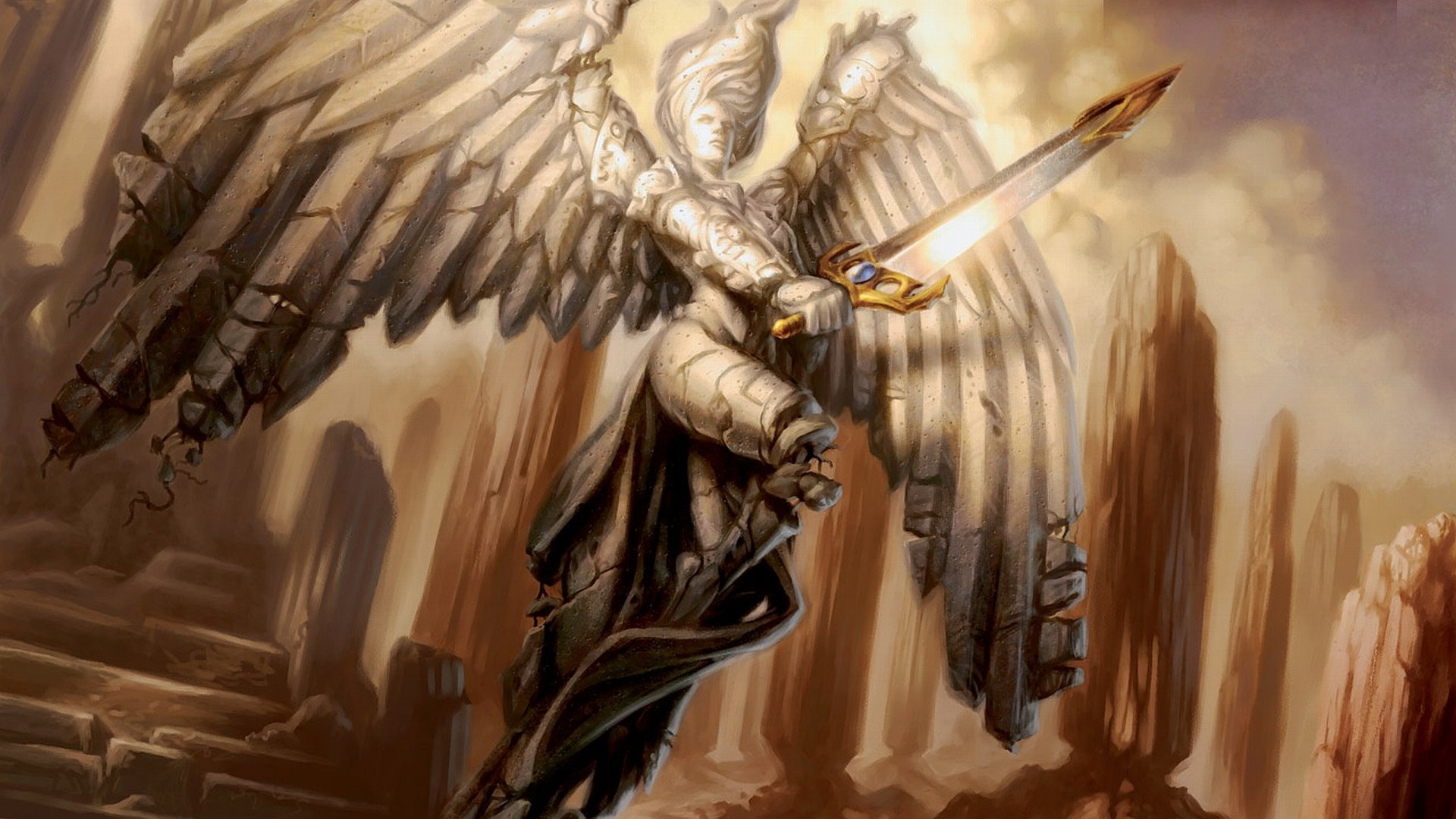 Game - Magic: The Gathering  Dark Gothic Angel Wings Sword Wallpaper