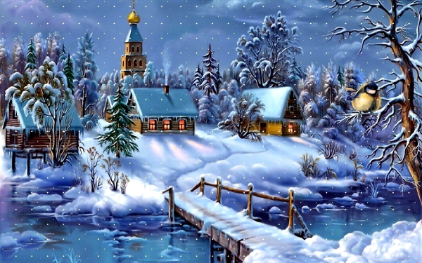 Artístico Invierno Paisaje Snow Iglesia Casa Puente Fondo de pantalla HD | Fondo de Escritorio