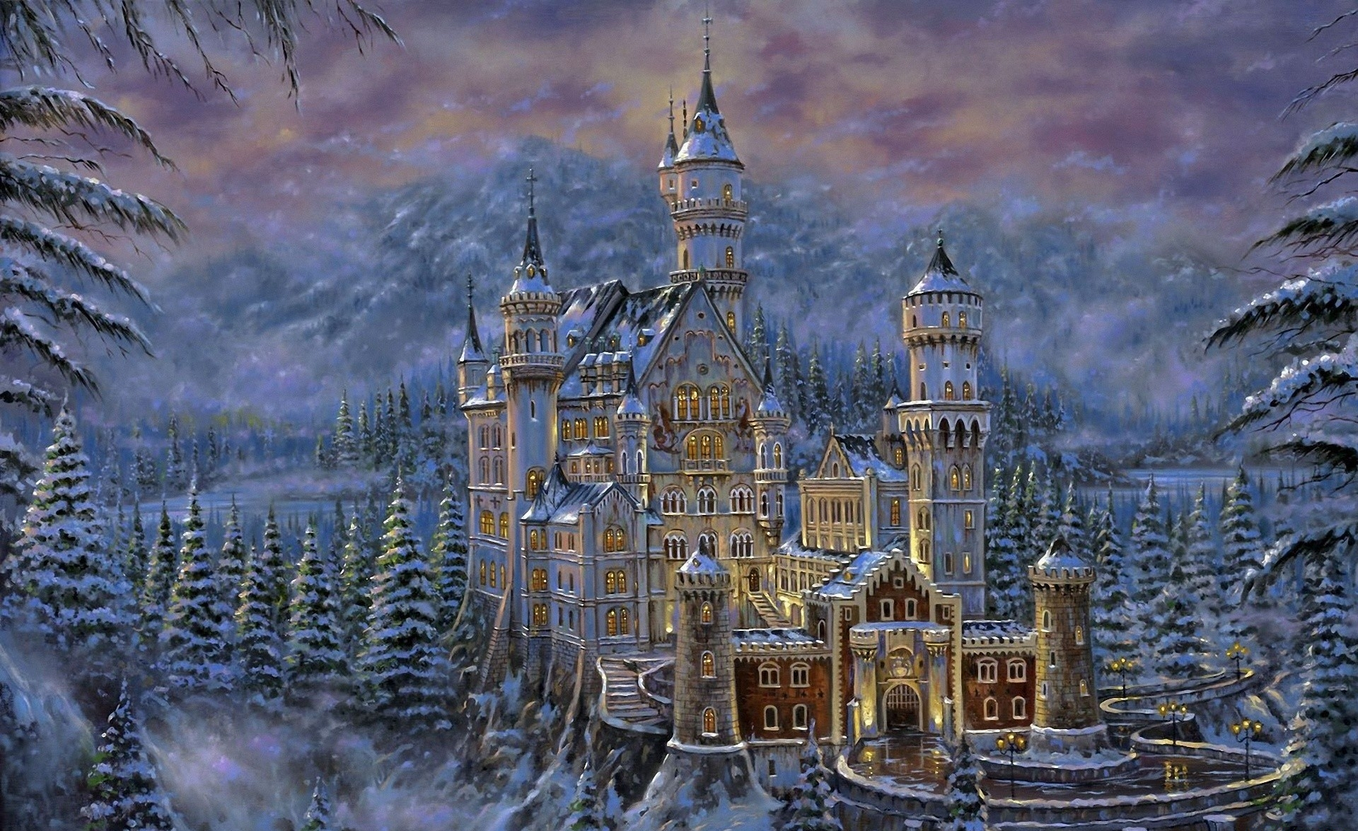 Fantasy - Castle  Snow Tree Winter Neuschwanstein Castle Painting Artistic Wallpaper
