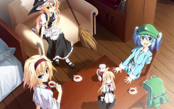 Anime Touhou Shrine Maiden Alice Margatroid Shanghai Marisa Kirisame Nitori Kawashiro HD Wallpaper | Background Image