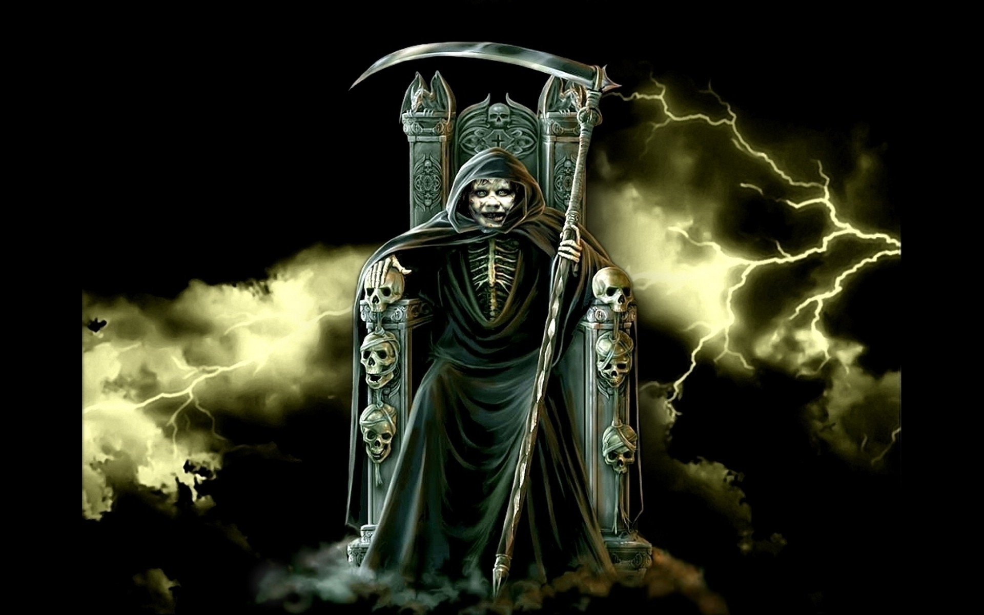 Dark - Grim Reaper  Skull Throne Dark Terry Hicks Wallpaper