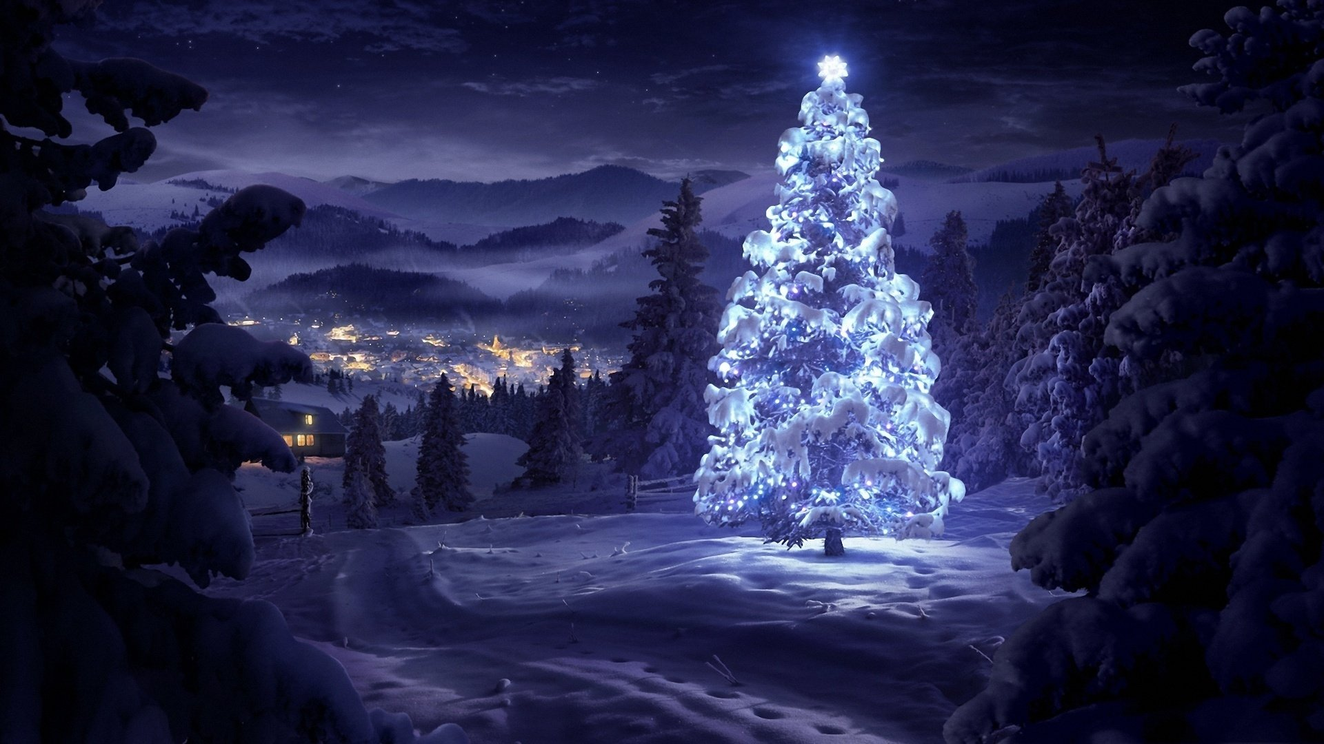 Holiday - Christmas  Village Winter Landscape Christmas Tree Snow Purple Wallpaper